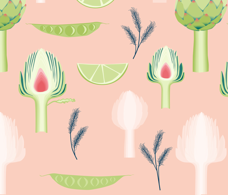 artichoke_and_peas-peach fabric by youdesignme on Spoonflower - custom fabric