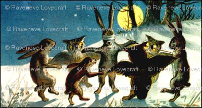 rabbits owls night snow winter trees stars plants grass hills trees game tag blind man's buff playing animals vintage retro kitsch birds