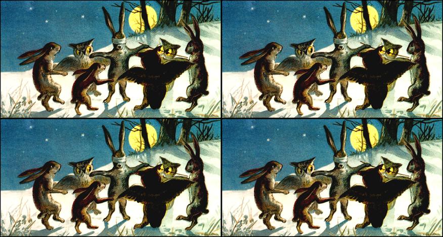rabbits owls night snow winter trees stars plants grass hills trees game tag blind man's buff playing animals vintage retro kitsch birds fabric by raveneve on Spoonflower - custom fabric