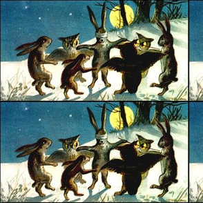 rabbits owls night snow winter trees stars plants grass hills trees game tag blind man's buff playing animals vintage retro kitsch birds