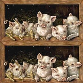 pigs farm barnyard pigsty barley wheat rye straw animals livestock pigpen piglets