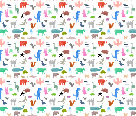 Colorful Wild Animals fabric by katievernon on Spoonflower - custom fabric