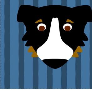 Aussie Dog on Blue Stripes Pillow Kit