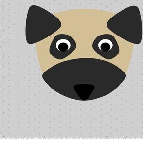Pug Dog on Confetti Pillow Kit