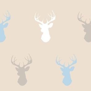 Deer-baby blue, white, tan, cream- CottonWood