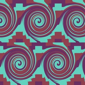 AW4 Rolling Circular Waves and Zigzag Pyramids, turquoise, maroon and purple,  large  scale, half brick repeat