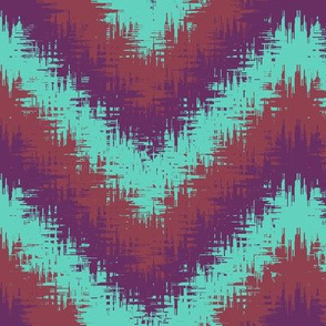 AW 2 Bargello Print in turquoise, maroon and purple, large  scale