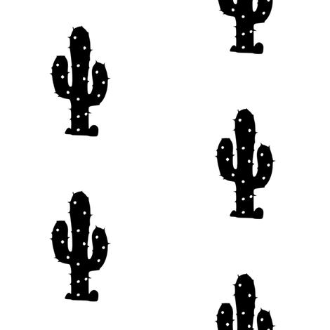 Monochrome Desert Cactus fabric by prissylemons on Spoonflower - custom fabric