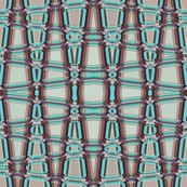 AW 4 -  Geometric Trellis Matrix in maroon mauve and teal, small scale, vertical