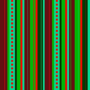 BN9 -  Variegated Stripe in Greens - Turquoise - Maroon - Orange - lengthwise