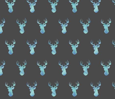 Watercolor Deer- blue on dark grey fabric by sugarpinedesign on Spoonflower - custom fabric