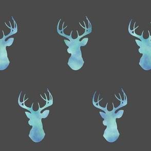 Watercolor Deer- blue on dark grey