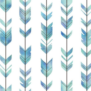 Watercolor Arrow Feather - Blue