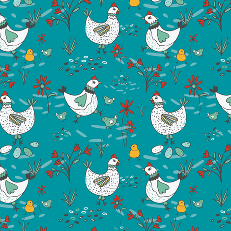 Free Range Hens and Chicks fabric by jacquelinehurd on Spoonflower - custom fabric