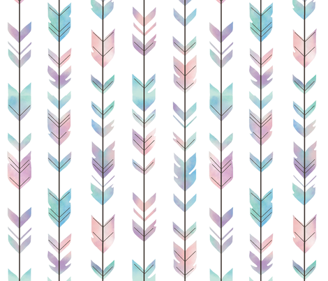 Watercolor Arrow Feather - multi pastel fabric by sugarpinedesign on Spoonflower - custom fabric