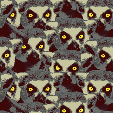 Lemur sitting in the dark fabric by susiprint on Spoonflower - custom fabric