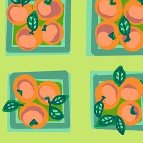 summer peach on celery green