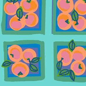 summer peach with blush on dew green