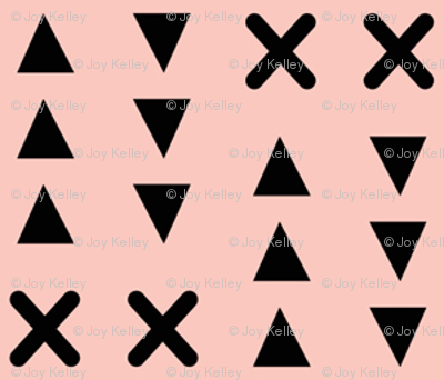 Triangles and X // Pink background