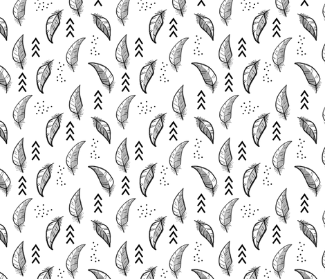 Feather sketch // Grey and black fabric by howjoyful on Spoonflower - custom fabric