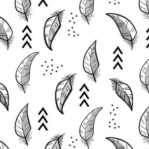 Feather sketch // Grey and black