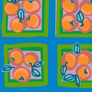 summer peach on jay blue
