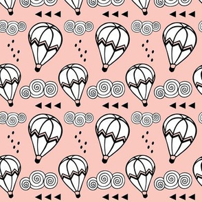 Hot air balloon // Pink background