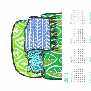 pup nap 5 : 2018 calendar tea towel