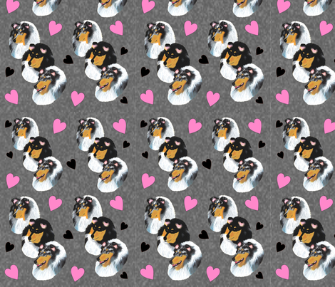 Collies with Hearts fabric by country_pup on Spoonflower - custom fabric