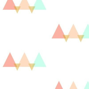 Sunset Mountains in Coral Peach Mint Gold