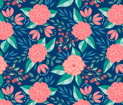 Tropical blooms // Blue and pink shades fabric by howjoyful on Spoonflower - custom fabric