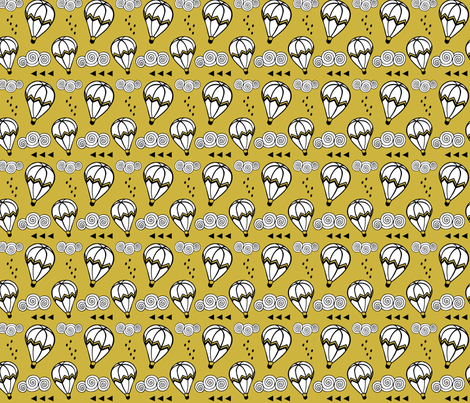 Hot air balloon //  Mustard background fabric by howjoyful on Spoonflower - custom fabric