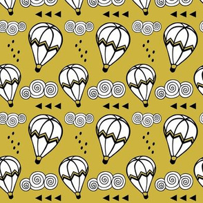 Hot air balloon //  Mustard background