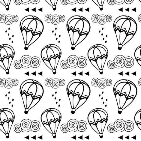 Hot air balloon // Black outline fabric by howjoyful on Spoonflower - custom fabric