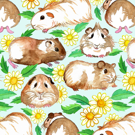 Guinea Pigs and Daisies in Watercolor on Pale Mint fabric by micklyn on Spoonflower - custom fabric