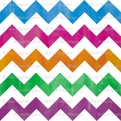 watercolor chevron - brights