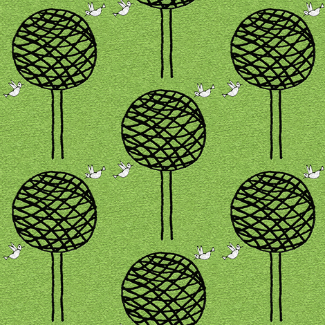 Collaboration: Birdies & Twine Trees fabric by anniedeb on Spoonflower - custom fabric