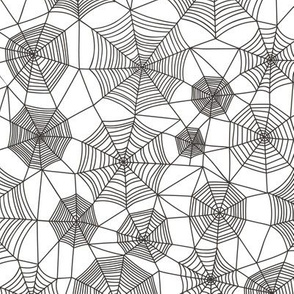 Spider web Halloween Fabric Spiderwebs Black&White