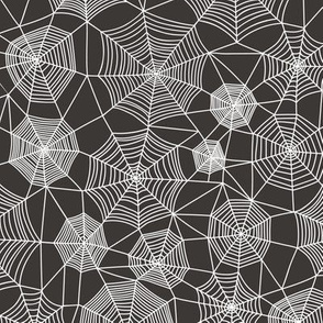Spider web Halloween Fabric Spiderwebs White on Black