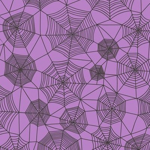 Spider web Halloween Fabric Spiderwebs Black on Purpel Purple