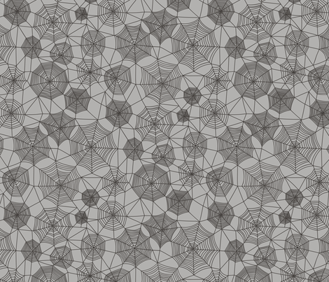 Spider web Halloween Fabric Spiderwebs Black on Grey fabric by caja_design on Spoonflower - custom fabric