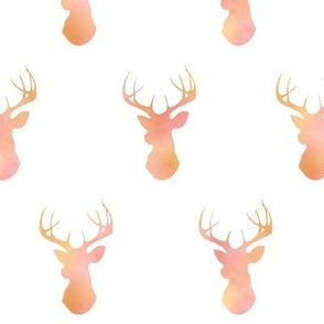 Watercolor Deer - Pink/Gold/Coral