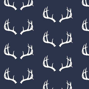 Deer Antlers in Navy and White