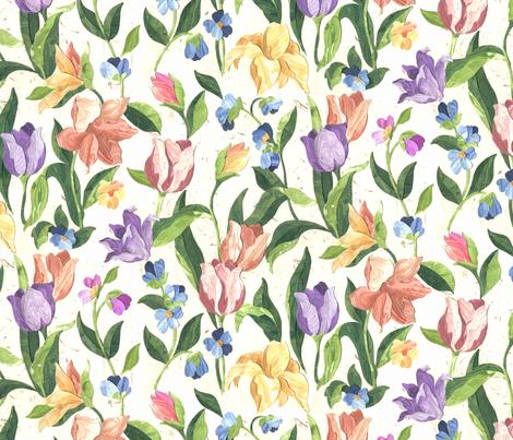 Marble Floral Garden fabric by ileneavery on Spoonflower - custom fabric