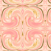 Cosmic Dance, where energy flows and sparks fly,  peach pink and gold on almondine