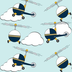 little happy helicopter in blue sky with clouds