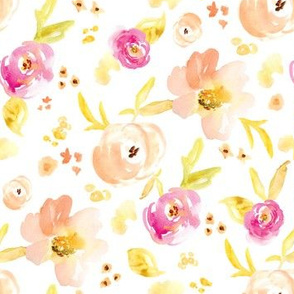 Peachy Pink Watercolor Flowers