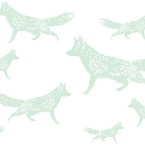 Trotting Foxes in Mint
