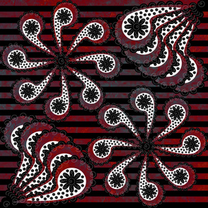 Paisley Flower Marbled Red