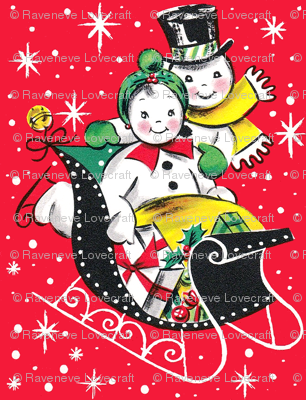 Merry Christmas snowman snow snowflakes stars winter sleigh mistletoe bows bells gifts presents baubles top hats vintage retro kitsch
